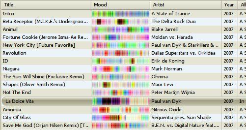 Playlist with moodbars